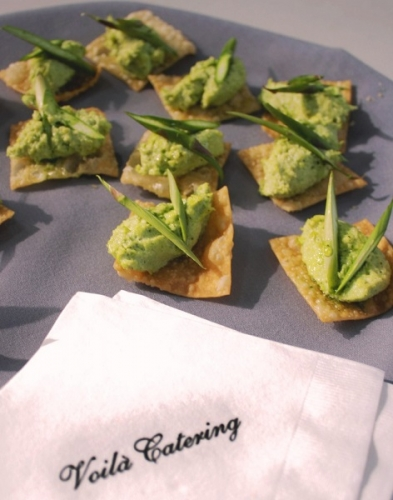 Edamame canape with spring asparagus garnish for Canape lake park