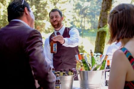 Friendly Bartenders at wedding reception at Bridal Veil Lakes