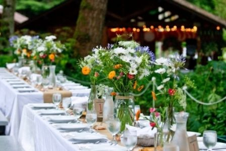 Long tables at Bridal Veil Lakes