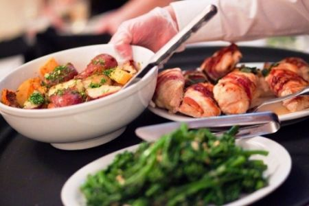 Family Style Diiner with Chicken, Sautted Broccolini, and Potatoes