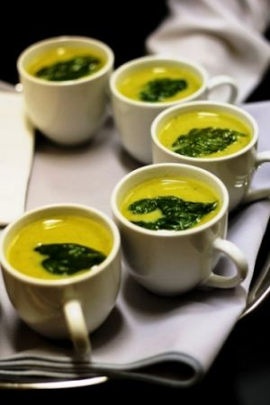 Server passed Hot Soup in a Demitasse Cup