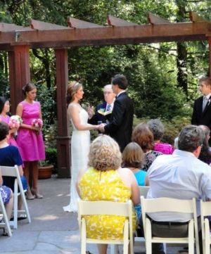 Wedding Ceremony at Leach Gardens in Portland