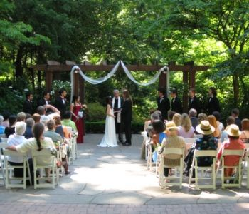 Wedding ceremony outside on Patio