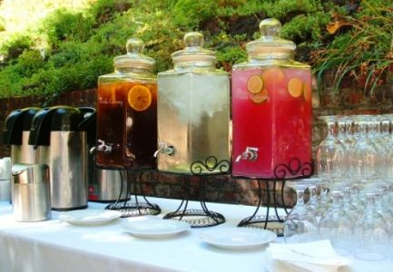 Non-Alchoholic: Strawberry Lemonade and Honey-Sweetened Ice Tea with Orange and Mint