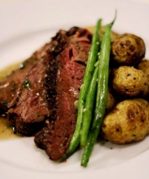 Bison Hanger Steak Dinner with Roasted Fingerling and Green Beans