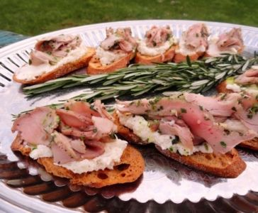 Porchetta Crostini with Parsley Oil