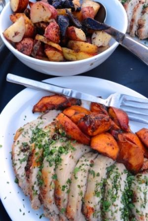 Roasted Sauvie Island Peaches and Pork Loin