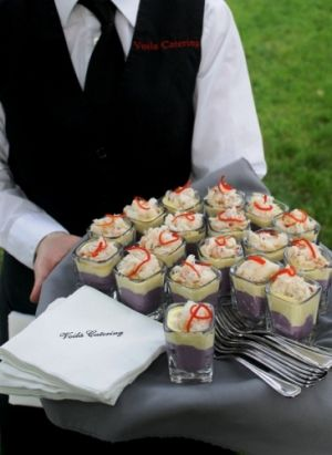 Server Passed Crab Causa Shots at Bridal Veil Lakes Wedding