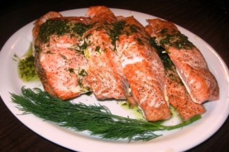 Fresh Salmon with Fresh Herb Sauce Verte