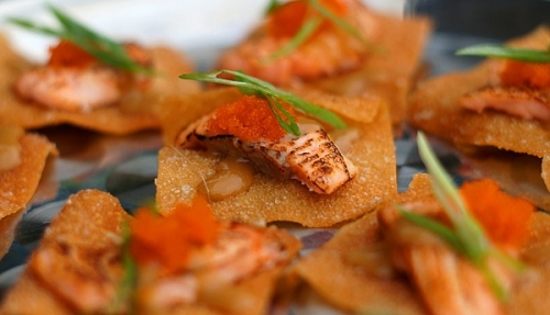 Chef Seared Salmon Bites on a Wonton Canape