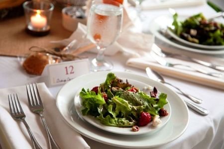 Plated Strawberry Salad for Family Style Wedding Reception Dinner