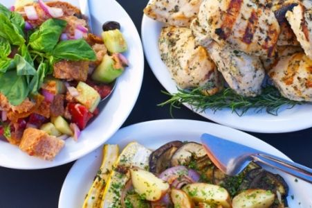 Casual Family Style Summer Dinner with Rosemary Chicken, Panzanella Salad, and Roasted Vegetables