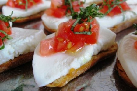 Classic Summer Tomato and fresh Mozzerella Crostini