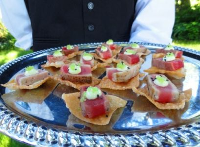 Seared Rare Tuna on a Wonton Canape