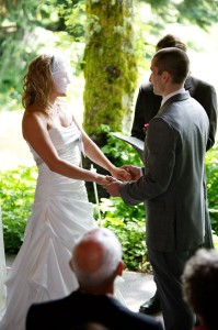 Wedding Ceremony moved to inside the pavilion at Bridal Veil Lakes