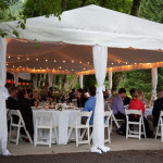 Rented and install by Voila were white tent liner and pole drapes