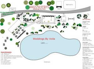 Layout and event plan for Bridal Veil Lakes Wedding