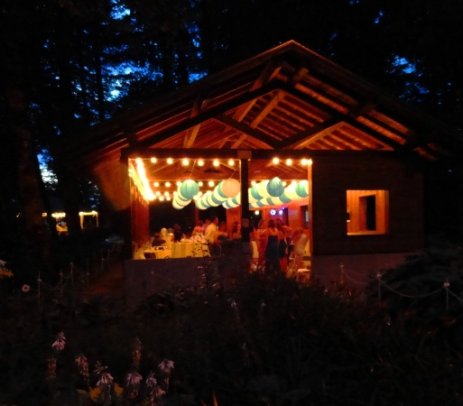 Paper lanters decorate the pavilion at Bridal Veil Lake