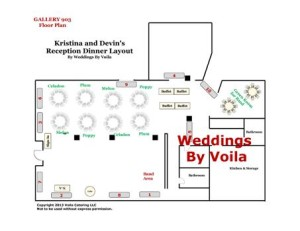 Layout for wedding reception at Gallery 903