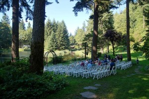 Wedding Ceremony Chairs at Bridal Veil Lakes set By Voila Catering