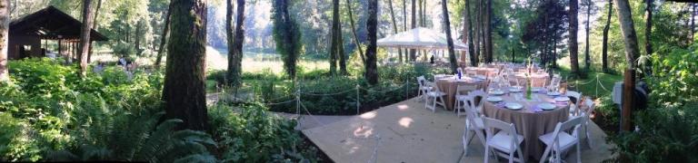 Dining Canopy and Dinner tables set by Voila at Bridal Veil Lakes