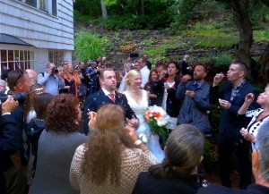 After their wedding ceremony at Leach Gardens, the Newlyweds are introduced