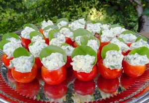 Catering Blue Cheese and Watercress filled Cherry Tomatoes
