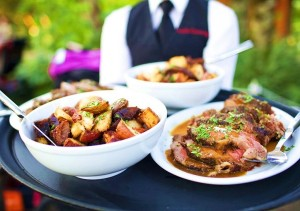 Leach Garden wedding reception dinner catered by Voila Catering