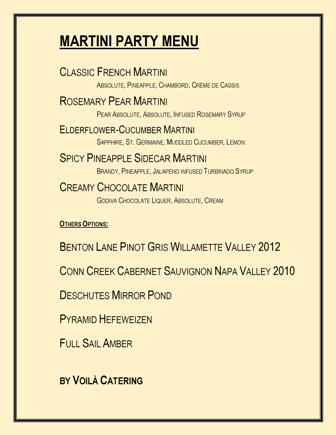 Menu for Martini Cocktail Party in Portland Oregon