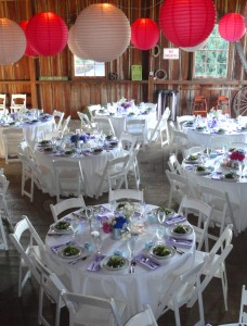 Dining Table at Long Farm Barn set by Voila Catering