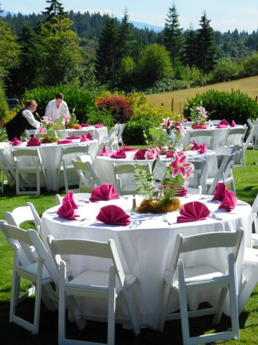 Dining Tables set for the wedding reception in portland