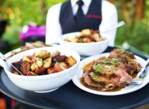 Catering wedding reception with family style service in Portland