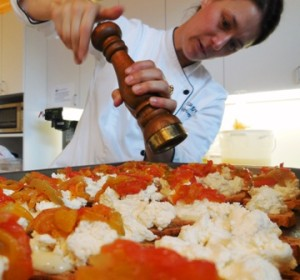 Voila catering's chef preparing catering hors d'oeuvres