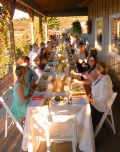Dinner at Laurel Ridge Winery is served family style for this wedding reception
