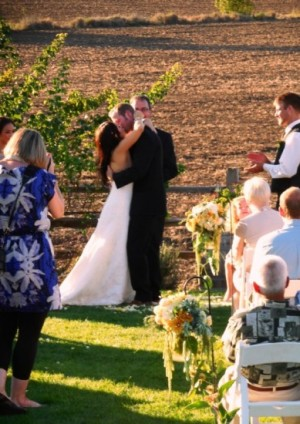The kiss at the wedding ceremony at Laurel Ridge Winery