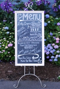Dinner Menu for wedding reception at Long Farm Barn