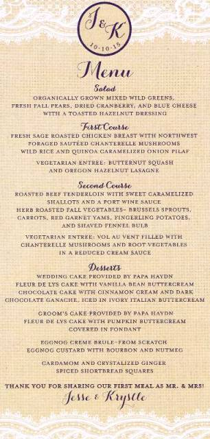 Menu at Bridal Veil Wedding Reception