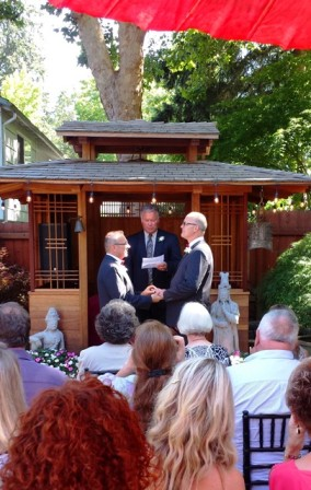 Backyard wedding reception in portland